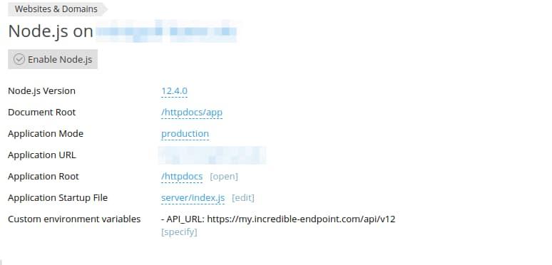 Deploy a Nuxt js application on a Plesk Onyx (v)Server as